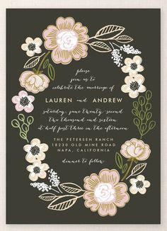 """""""Botanical Wreath"""" - Customizable Menu Cards in Brown by Alethea and Ruth. Unique Wedding Invitations, Wedding Stationery, Invites, Invitation Suite, Invitation Cards, Trendy Wedding, Unique Weddings, Floral Wedding, Perfect Wedding"""