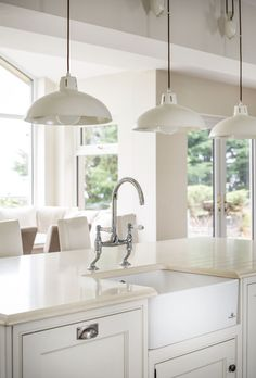 Kitchen Island with Farmhouse Sink. Hand Crafted Kitchens by Jonathan Williams.ie Photographers. Like white hanging lights. Inframe Kitchen, Studio Kitchen, Kitchen Cabinet Design, Kitchen Layout, Kitchen Ideas, Luxury Interior Design, Interior Design Kitchen, Country White Kitchen, Narrow Kitchen Island