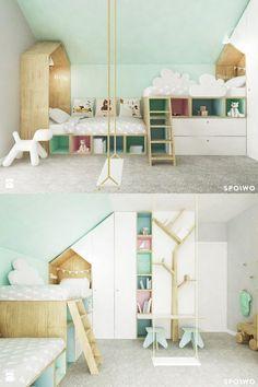 Geteiltes Kinderzimmer mit Loft Beds. Schöne Pastelltöne und Deko.