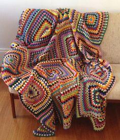 Retro Colours Crochet Blanket <3