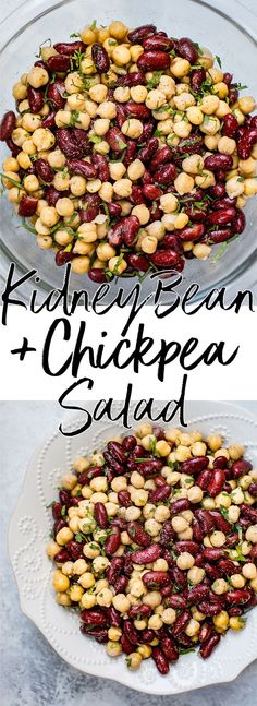 Kidney Bean and Chickpea Salad This kidney bean and chickpea salad is ridiculously easy with only 5 ingredients! Healthy, delicious, and ready in under 10 minutes. Black Bean Sweet Potato BHealthy Mexican ChickpeaChickpea Salad is a quick Chickpea Recipes, Chickpea Salad, Bean Recipes, Healthy Salad Recipes, Vegetarian Recipes, Healthy Foods, Kebabs, Healthy Cooking, Healthy Eating