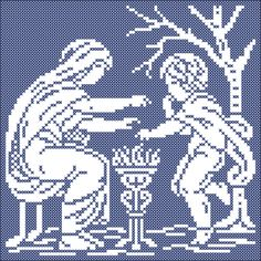 The four seasons: Winter | Chart for cross stitch and filet crochet.