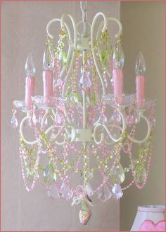 5 Light Diva Chandelier with Pink and Green Crystals ships free. Rose Cottage, Shabby Chic Cottage, Shabby Chic Decor, Garden Cottage, Green Chandeliers, Pink Chandelier, Victorian Chandelier, Shabby Chic Chandelier, Deco Luminaire