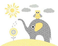Nursery wall art, yellow and grey elephant, owl - print / poster, illustration, collage art for kids, baby girl, boy room, baby shower gift