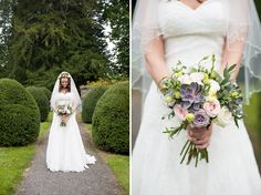 English Garden Wedding, West Sussex  Bouquet with pastel roses and succulents  Blooms of Chichester   creative-pretty-wedding-walled-garden-cowdray_0011