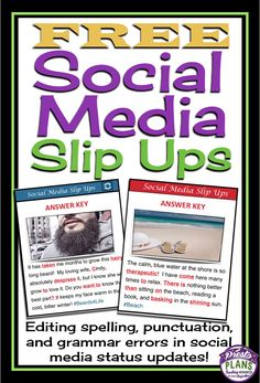 Use these 4 free task cards to allow students to edit grammar, spelling, and punctuation in a fun and modern way! Students will read social media status updates to find errors and correct them!