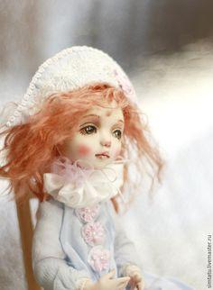 Купить Клоунесса Глаша - голубой, нежно-голубой, авторская кукла, кукла из полимерной глины