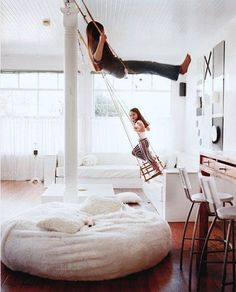 12 Ideas for Indoor Play. Not all of these are feasible for most people but for those who can. 12 Ideas for Indoor Play. Not all of these are feasible for most people but for those who can. Kids Bedroom, Bedroom Decor, Bedroom Ideas, Bedroom Swing, Bedroom Modern, Modern Room, Home Design, Interior Design, Design Design