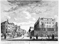 Jewish Synagogue, Amsterdam seen from the Jodenbreestraat, on an engraving from the Fouquet-Atlas (1760-1783).