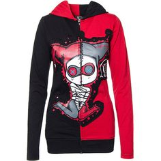 Cupcake Cult Jester Hoodie (Black/Red) ($65) ❤ liked on Polyvore featuring tops, hoodies, red hoodie, hooded sweatshirt, sweatshirt hoodies, red hooded sweatshirt and hoodie top