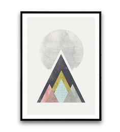 minimalist abstract art, Geometric print, Mountains print, Nordic design, Pastel…