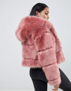Find the best selection of ASOS DESIGN Petite hooded faux fur coat. Shop today with free delivery and returns (Ts&Cs apply) with ASOS! Pink Faux Fur Coat, Faux Fur Hooded Coat, Faux Fur Jacket, Faux Fur Coats, Pink Fur Jacket, Fur Fashion, Fashion Outfits, Fashion Trends, Sporty Fashion