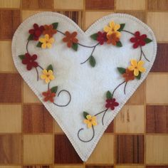 Wool candle mat Heart Flowers Fall Penny Rug