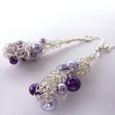 Purple pearl crochet wire 'misty' earrings by FayeValentine on Zibbet