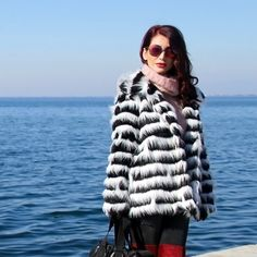 Find More Fur & Faux Fur Information about black white stripe long sleeve faux fur coat for women , turn down collar furry coats women's warm clothes size S XL,High Quality fur trim hooded coat,China coated roofing Suppliers, Cheap fur children from pure    color on Aliexpress.com