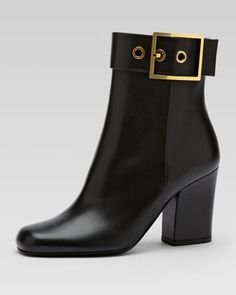 Side+Buckle+Leather+Ankle+Boot,+Black+by+Gucci+at+Neiman+Marcus.
