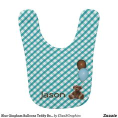 Easily personalize this retro gingham bib for that special baby in your life. #bib #baby #gingham