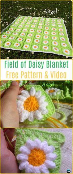 Crochet Field of Daisy Blanket Free Pattern & Video - Crochet Daisy Flower Blanket Free Patterns