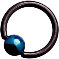 Black Steel Ball Closure Rings with Mid Blue Titanium Ball