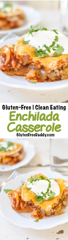 This gluten-free enchilada casserole is a super-simple, delicious, and healthy weeknight dinner that the entire family will love. {Clean Eating}