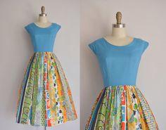 vintage 1950s dress / Kerry Brooke dress / 50s print cotton dress