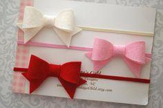 Valentines Day Baby Headband Mini Felt Bow Felt by MyMondaysChild
