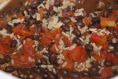 I LOVE black beans and rice, and this recipe uses brown rice: cheap, easy, healthy and delicious