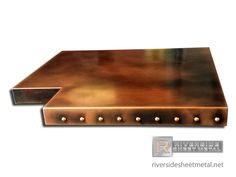 Custom Copper bar table top with dark wash patina and rivets Copper Top Table, Copper Counter, Copper Furniture, Outdoor Patio Bar Sets, Pub Design, Kitchen Tops, Kitchen Island, Kitchen Cabinets, Pub Set