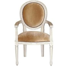 Oly Studio Sophie Armchair ($1,850) ❤ liked on Polyvore featuring home, furniture, chairs, accent chairs, antique white furniture, cream armchair, ivory furniture, hand carved furniture and beige chair