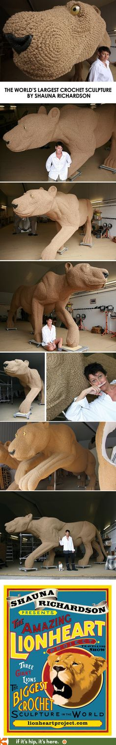 The world's largest crochet sculpture by artist Shauna Richardson. Learn and see more at http://www.ifitshipitshere.com/the-worlds-largest-crochet-sculpture-crochetdermy-by-shauna-richardson/