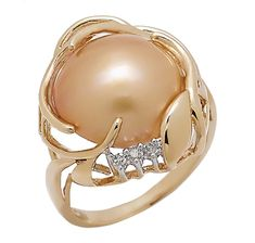 Pearl Lustre 14K Yellow Gold Golden Mabe Pearl & Diamond Ring