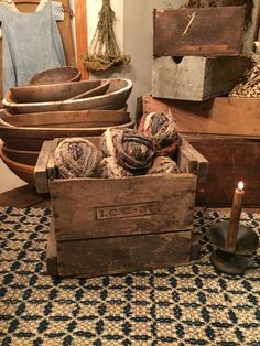 old wood box and rag balls Blackbird Primitives
