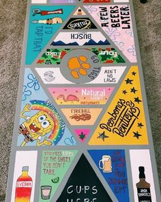Custom Beer Pong Tables, Beer Table, Diy Table, Drinking Games For Parties, Drinking Board Games, Cooler Painting, Diy Crafts, Vsco, Diys