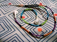 DIY friendship bracelet headphones. Easy, colorful, and tangle-free!