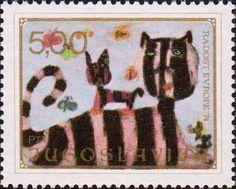"""Югославия, 1974 год, серия """"Радость Европы"""", «Кошка с котёнком»"""