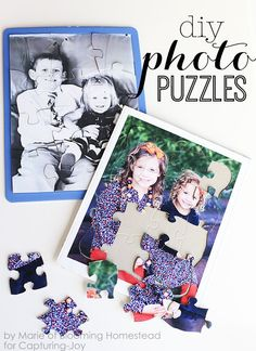 DIY Photo puzzles- fun and affordable way to preserve memories and these make great affordable gifts too! Capturing-Joy.com