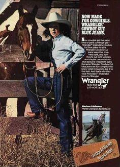 Vintage Clothes/ Fashion Ads of the (Page Vintage Western Wear, Vintage Denim, Wrangler Cowboy Cut, Vintage Outfits, Vinyl Poster, Shoes Ads, Gisele Bundchen, Cowgirl Style, Guess Jeans