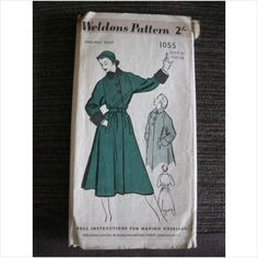 """Vintage 1940's Weldons pattern 1055 ladies coat Bust 32"""" used - ebid"""