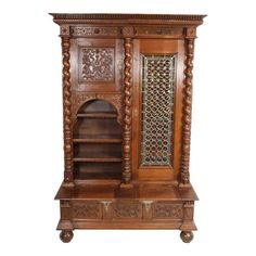 ~ Early 20th Century Renaissance Style Bookcase with Leaded Glass Door ~ 1stdibs.com