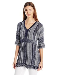 Heather B Womens Novelty V Neck Fringe Tunic NavyWhite XL *** Read more at the image link. Sweaters And Leggings, Pullover Sweaters, Heather B, Sweater Outfits, Cool Outfits, Sweaters For Women, Tunic Tops, V Neck, Image Link