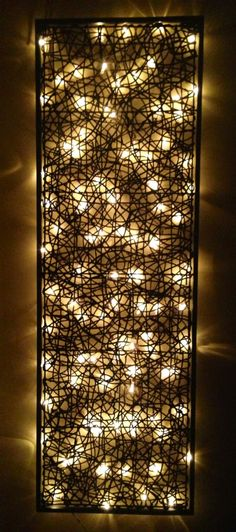 Idea... Headboard from wire with lights behind!! This would be REALLY CUTE hanging from the ceiling as an overhead light!