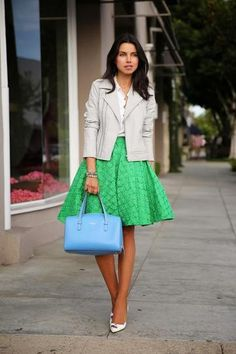 Ladylike full skirts are definitely having a moment, and we love the idea of choosing one in a bold color for spring.