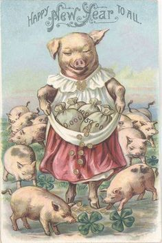 Vintage postcard i love this pigs in clover picture Vintage Greeting Cards, Vintage Christmas Cards, Vintage Ephemera, Vintage Holiday, Vintage Happy New Year, Happy New Year Cards, New Year Greetings, Christmas Greetings, New Year Art