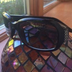 Nine West sun glasses Beautiful shiny black frame with rhine stone and silver studs! Great fit for any face structure! You gotta get these beautiful sunnies Nine West Accessories Glasses