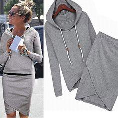 Minetom Herbst Sommer Frauen casual dress Anzug Baseball Sweatshirt-Kapuzenpullover Trainingsanzüge Sportbekleidung Kleidungssatz