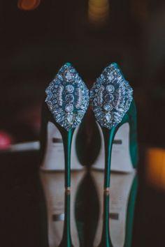 chaussures mariee vert emeraude