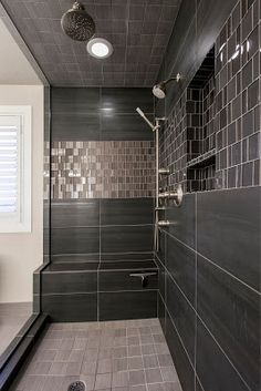 Sandy Residence Master Bathroom Renovation by Christa Pirl Interiors, charcoal spa shower