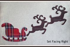 Dark Brown Deer & Sleigh,Cotton Fabric,Cut Out, Iron On, Appliqué Set One