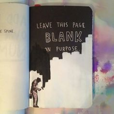 Wreck this journal, leave this page blank on purpose, creative painter...★