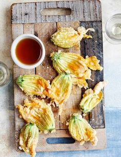 Fried courgette flowers with honey and vinegar  Packed with sweet and tangy flavour, these courgette flowers with honey and vinegar are a great starter for any summer dinner party. What's more, they look impressive and take no time at all to make